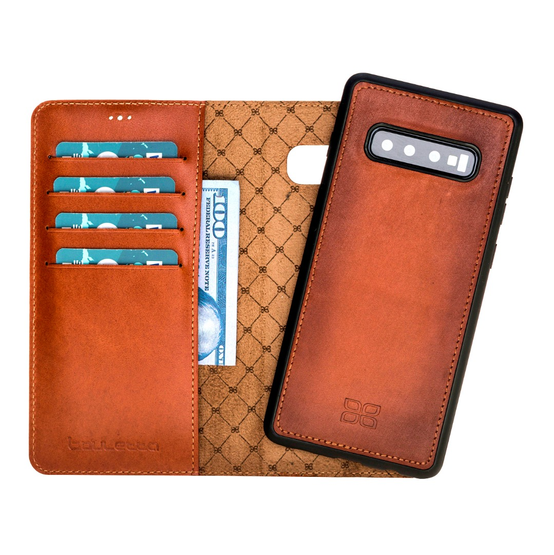 Husa piele naturala 2in1, portofel + back cover, Samsung Galaxy S10 Plus - Bouletta Magic Wallet, Burnished tan