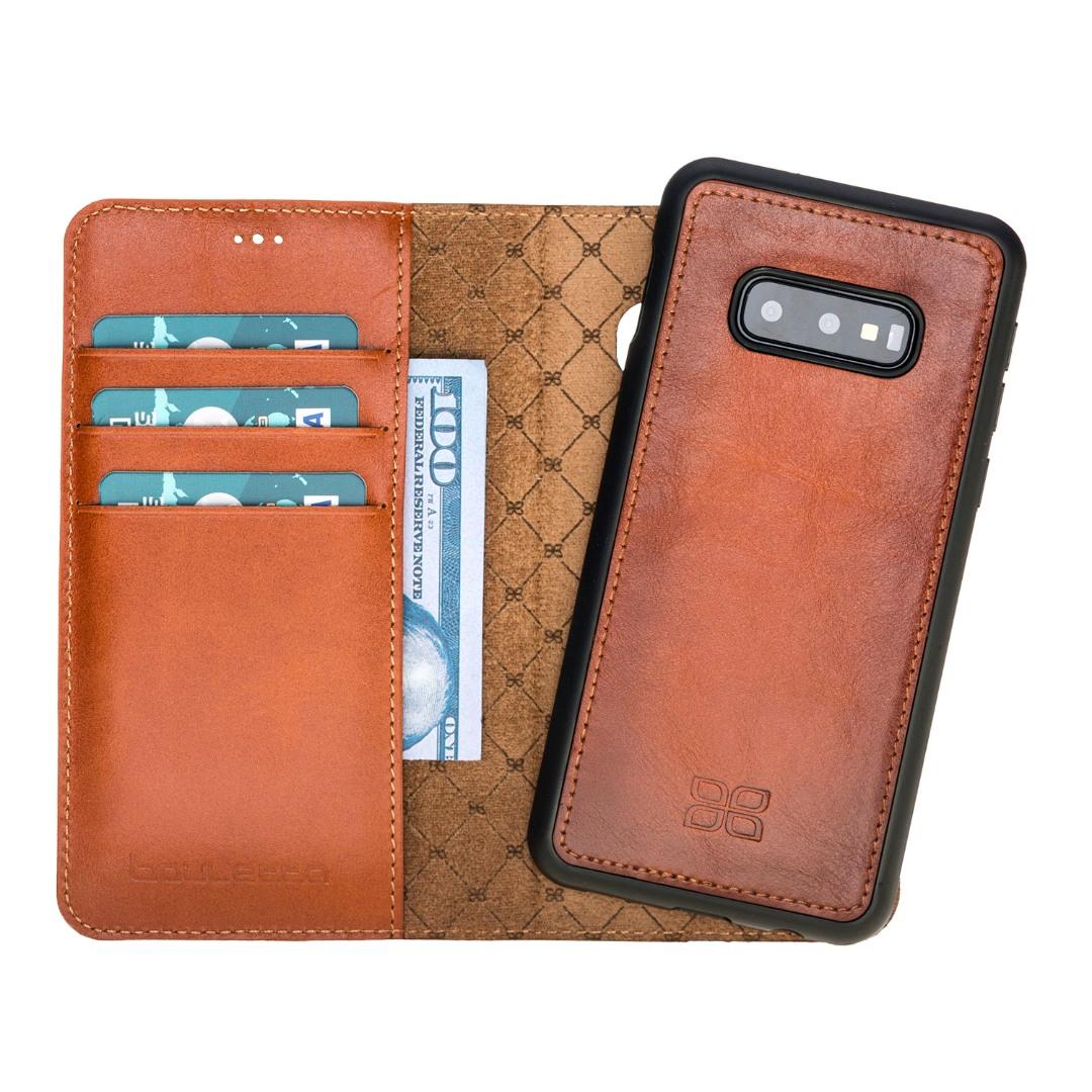 Husa piele naturala 2in1, portofel + back cover, Samsung Galaxy S10E - Bouletta Magic Wallet, Burnished tan