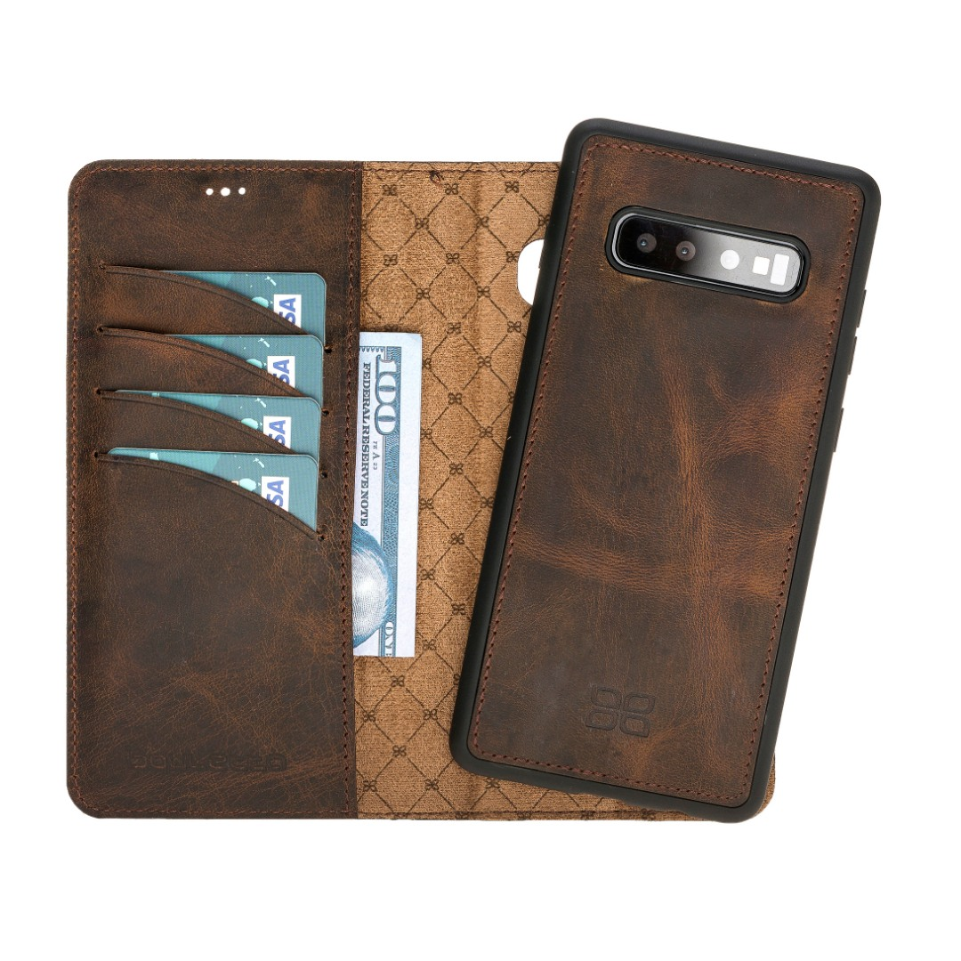 Husa piele naturala 2in1, portofel + back cover, Samsung Galaxy S10 Plus - Bouletta Magic Wallet, Antique brown