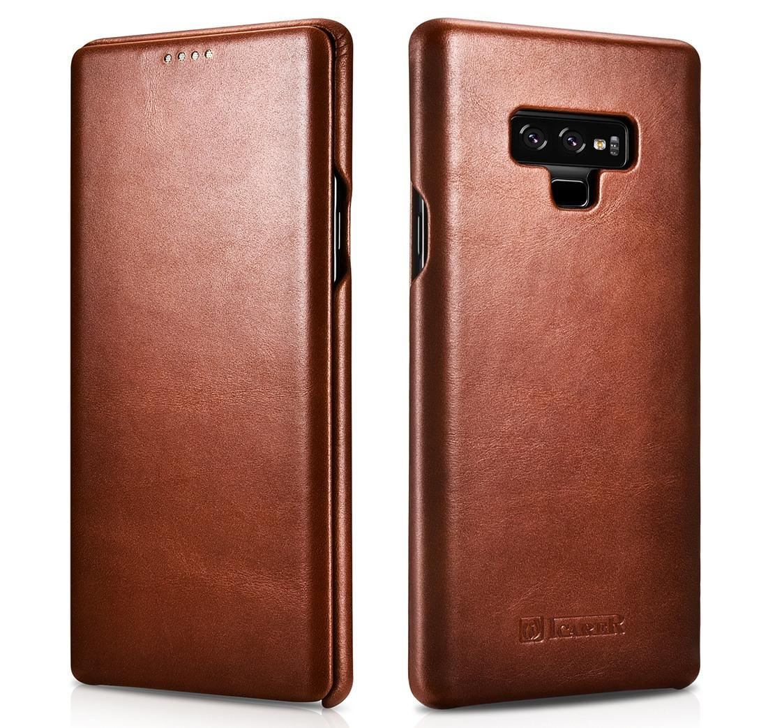 Husa din piele naturala, tip carte cu clapeta curbata, Samsung Galaxy Note 9 - iCARER Vintage, Maro coniac