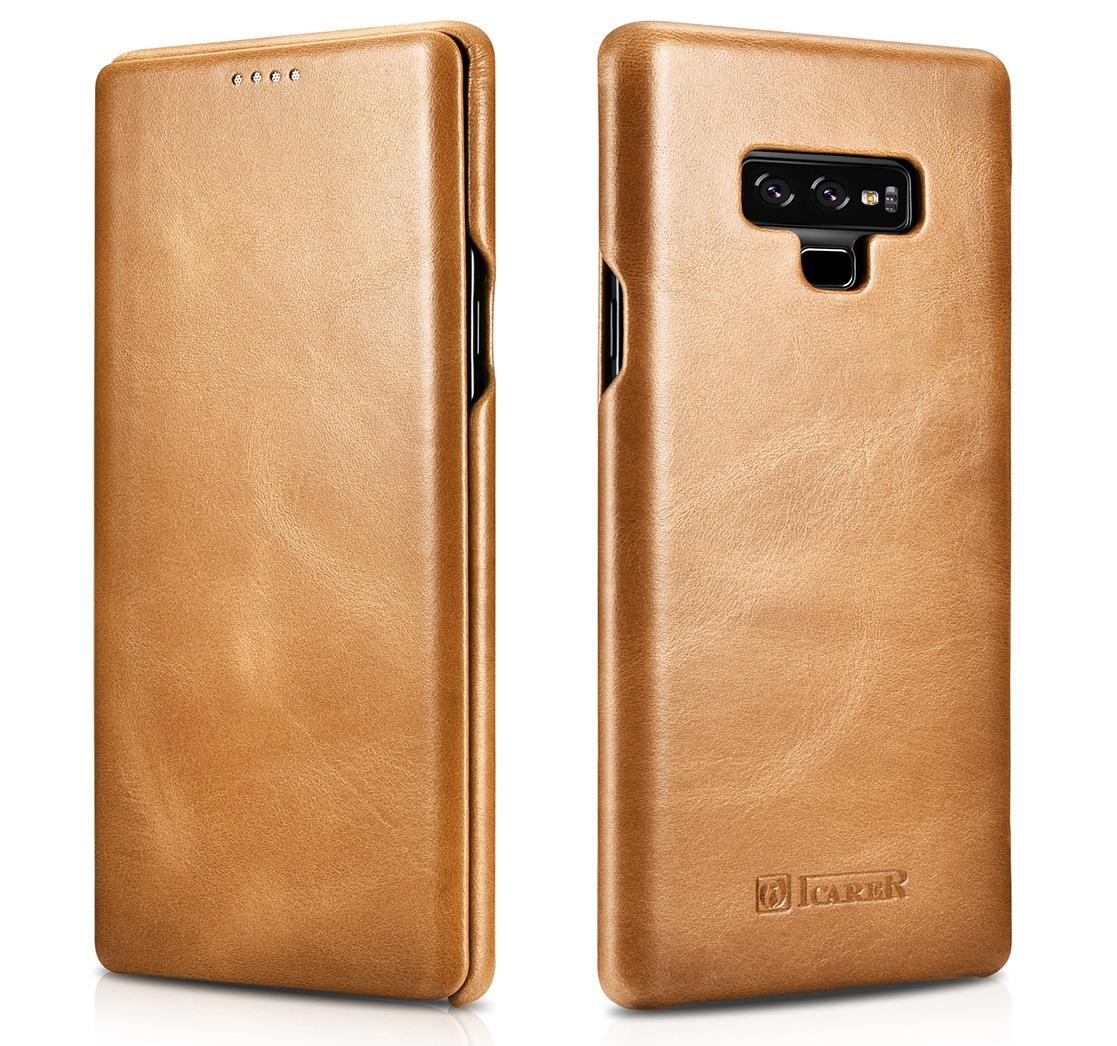 Husa din piele naturala, tip carte cu clapeta curbata, Samsung Galaxy Note 9 - iCARER Vintage, Camel