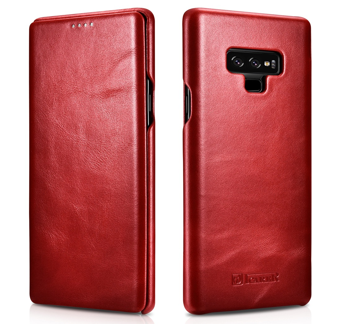 Husa din piele naturala, tip carte cu clapeta curbata, Samsung Galaxy Note 9 - iCARER Vintage, Rosu burgund