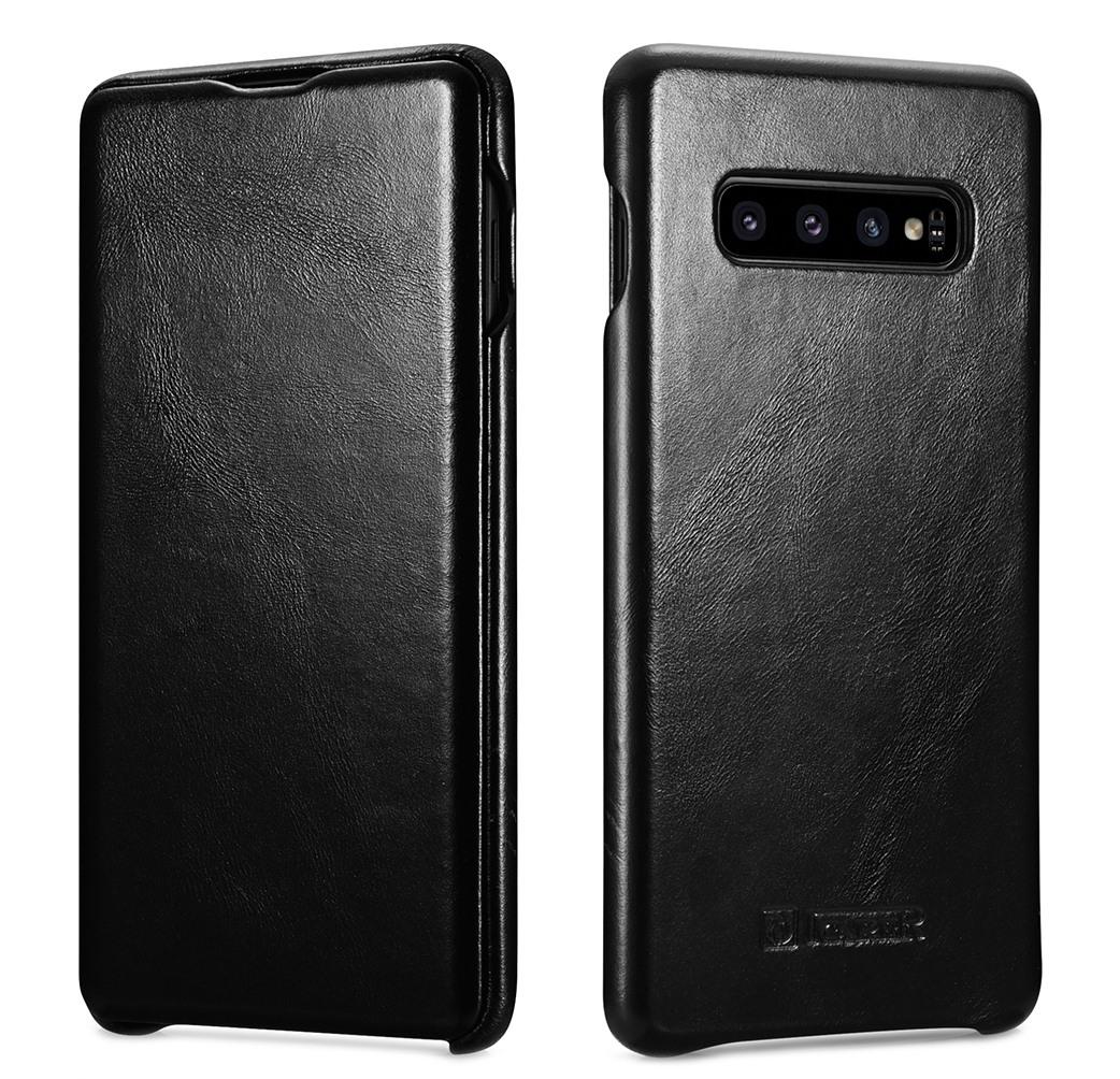 Husa din piele naturala, tip carte cu clapeta curbata, Samsung Galaxy S10 Plus - iCARER Vintage, Negru