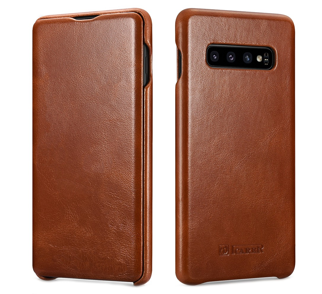 Husa din piele naturala, tip carte cu clapeta curbata, Samsung Galaxy S10 Plus - iCARER Vintage, Maro coniac