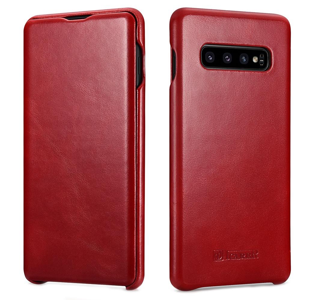 Husa din piele naturala, tip carte cu clapeta curbata, Samsung Galaxy S10 Plus - iCARER Vintage, Rosu burgund