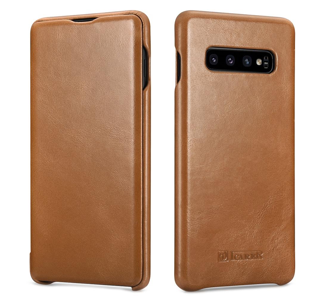 Husa din piele naturala, tip carte cu clapeta curbata, Samsung Galaxy S10 Plus - iCARER Vintage, Camel