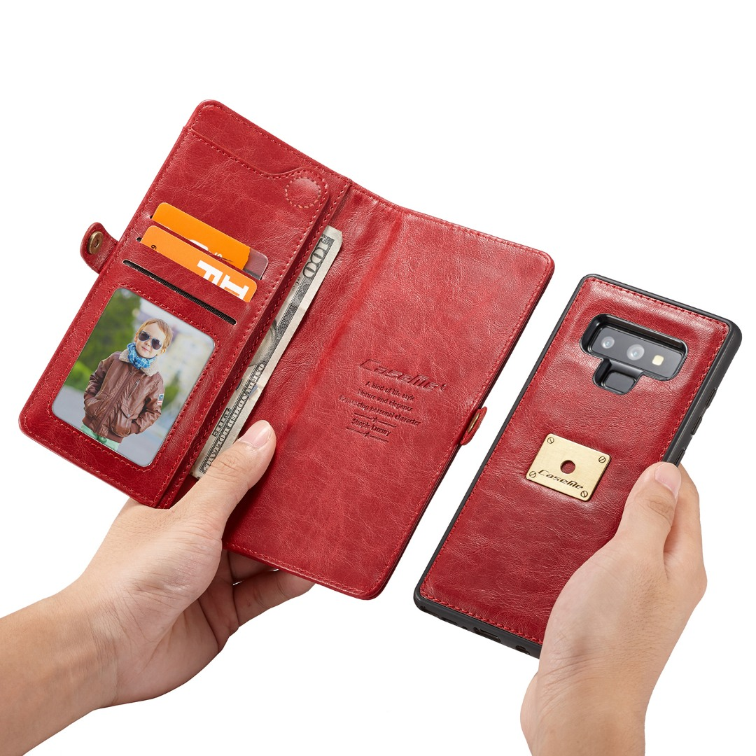 Husa piele portofel, multifunctionala, buzunare carduri, bani, casti, chei, Samsung Galaxy Note 9 - CaseME, Rosu
