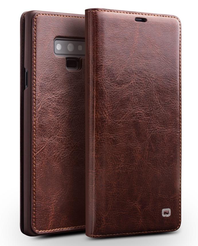 Husa slim din piele fina naturala tip carte, cu buzunar card, Samsung Galaxy Note 9 - Qialino, Maro coffee