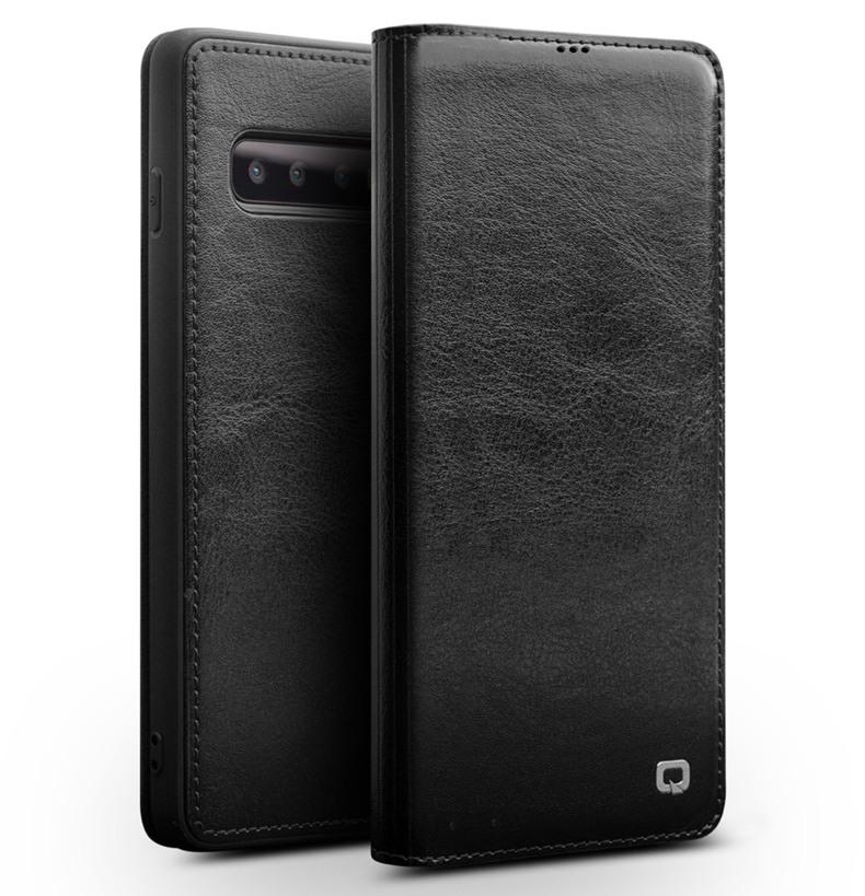 Husa slim din piele fina naturala tip carte, cu buzunar card, Samsung Galaxy S10 Plus - Qialino, Negru