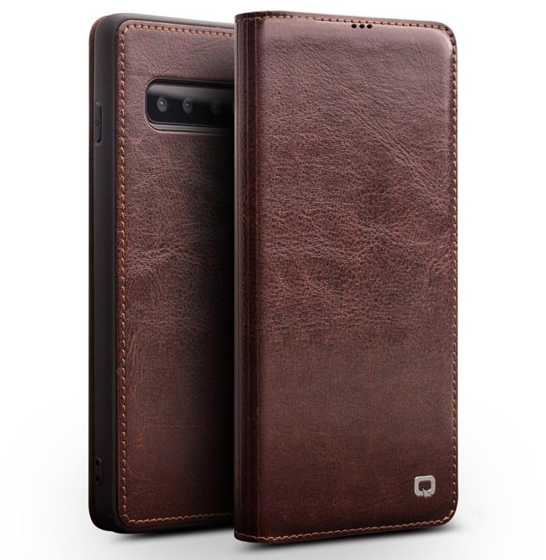 Husa slim din piele fina naturala tip carte, cu buzunar card, Samsung Galaxy S10 - Qialino, Maro coffee