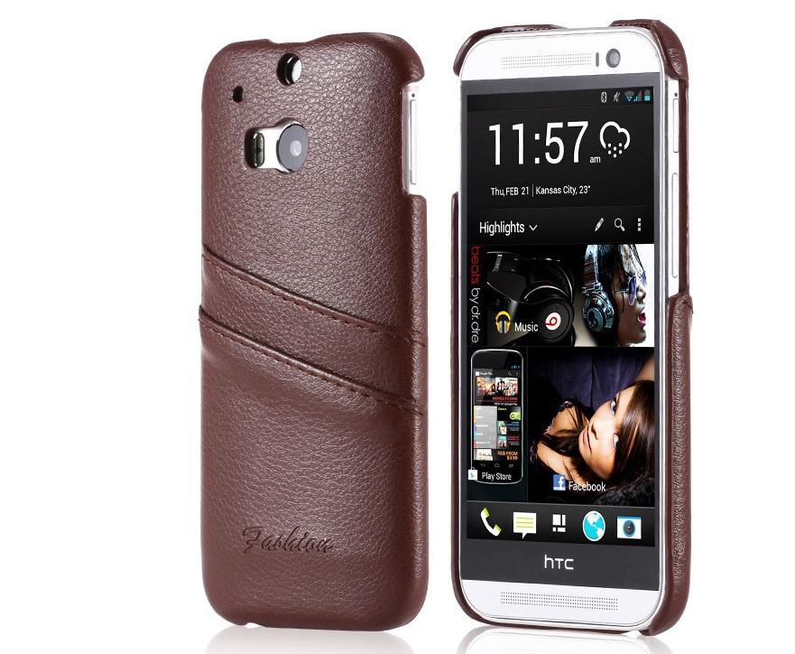 Husa slim din piele naturala, tip back cover, cu buzunarase, HTC One M8 / M8s - CaseMe, Maro