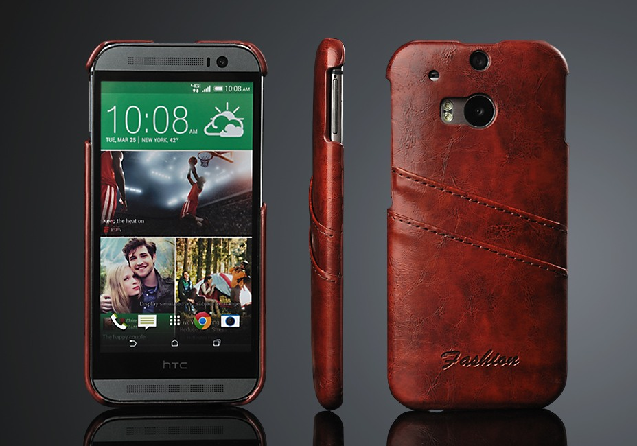 Husa slim piele cu textura vintage, tip back cover, HTC One M8 / M8s - CaseMe, Maro coniac