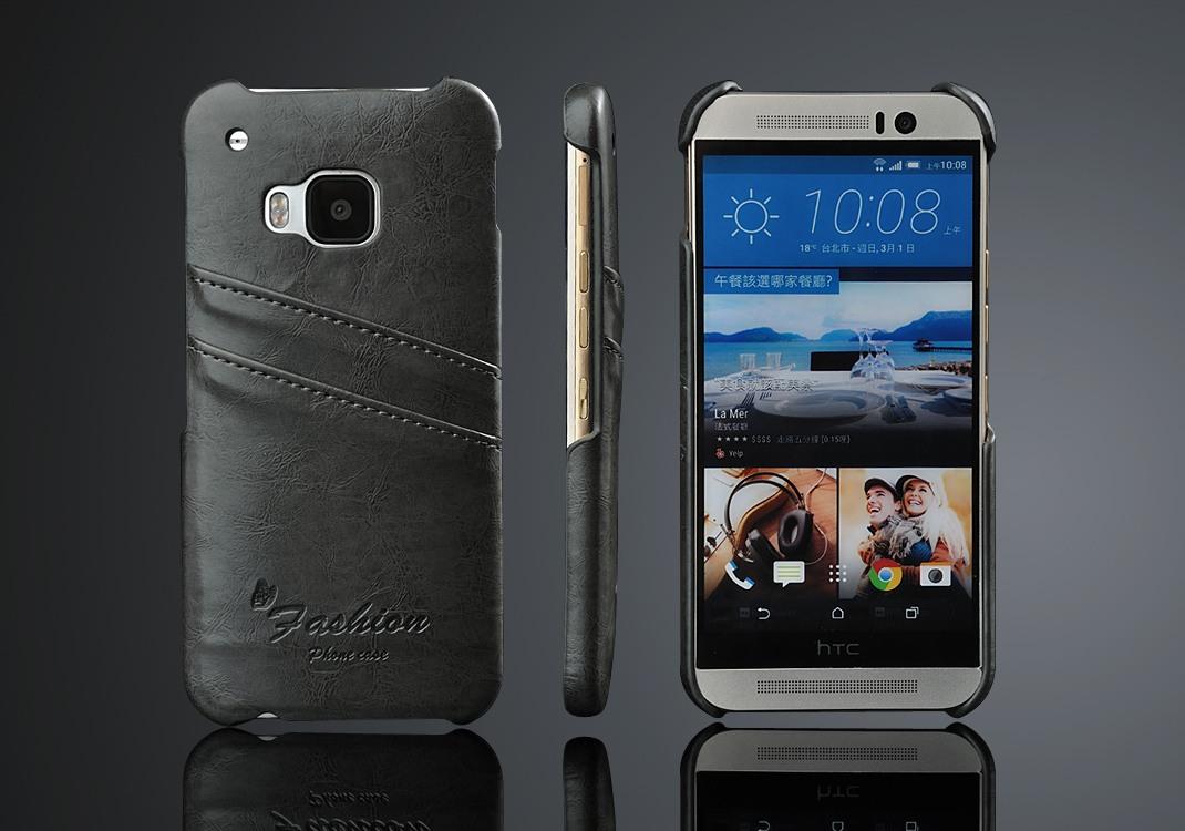 Husa slim piele cu textura vintage, tip back cover, HTC One M9 - CaseMe, Gri