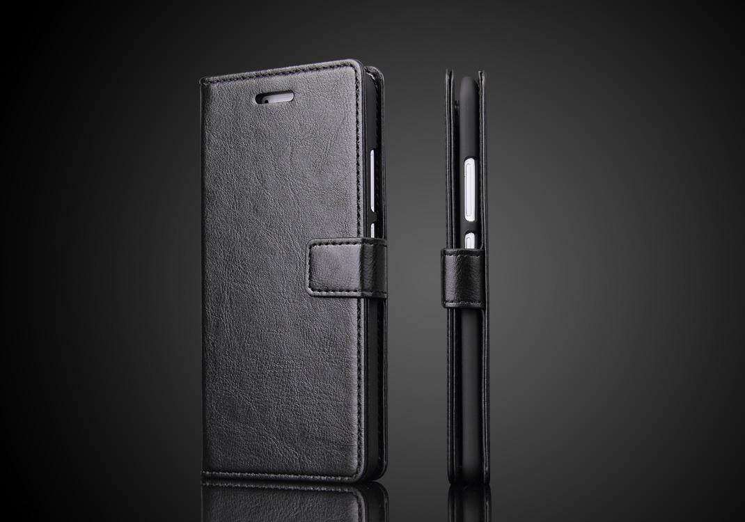 Husa piele fina, tip carte, functie stand, Huawei Ascend P10 Plus - CaseMe, Negru