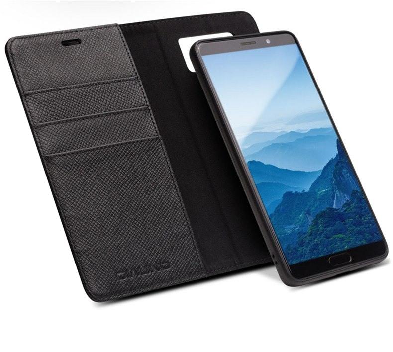 Husa multifunctionala 2 in 1 piele naturala, tip carte + back cover, stand, Huawei Mate 10 Pro - Qialino, Negru