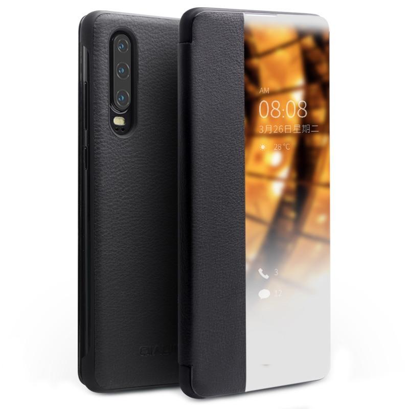 Husa slim din piele naturala, smart cover, Huawei P30 - Qialino Smart Luxury, Negru