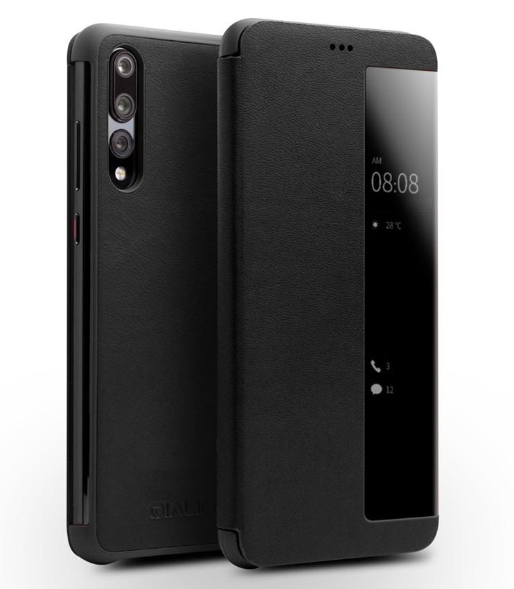 Husa slim din piele naturala, smart cover, Huawei P20 Pro - Qialino Smart Luxury, Negru