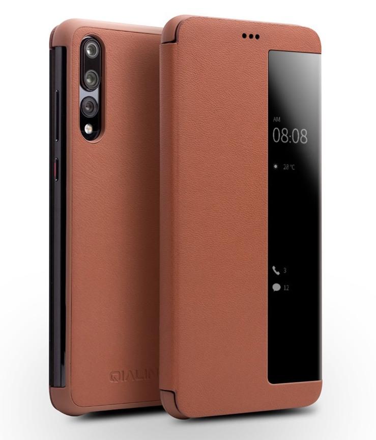 Husa slim din piele naturala, smart cover, Huawei P20 Pro - Qialino Smart Luxury, Maro tabac