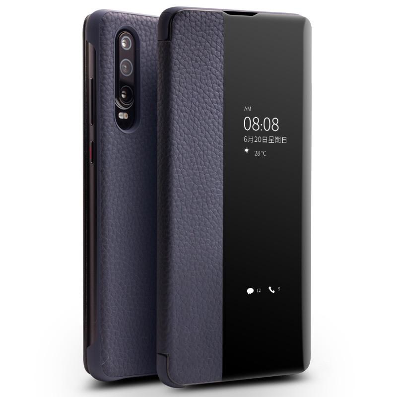Husa slim din piele naturala, smart cover, Huawei P30 - Qialino Smart Luxury, Albastru