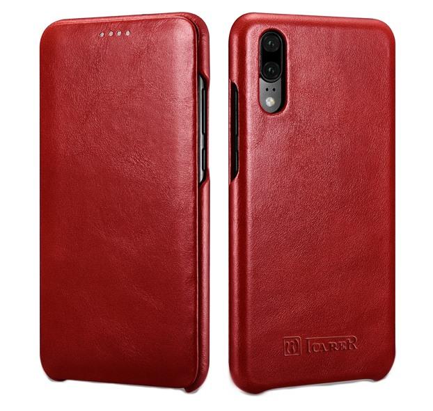 Husa din piele naturala, tip carte cu clapeta curbata, Huawei P20 - iCARER Vintage, Rosu burgund