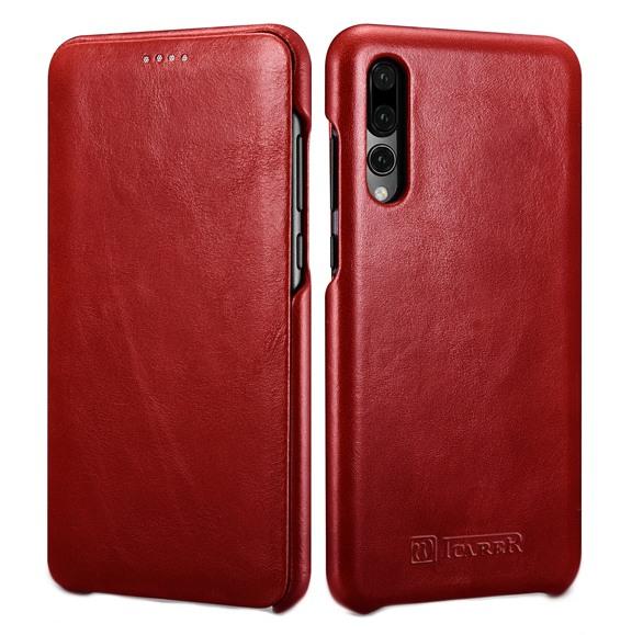 Husa din piele naturala, tip carte cu clapeta curbata, Huawei P20 Pro - iCARER Vintage, Rosu burgund