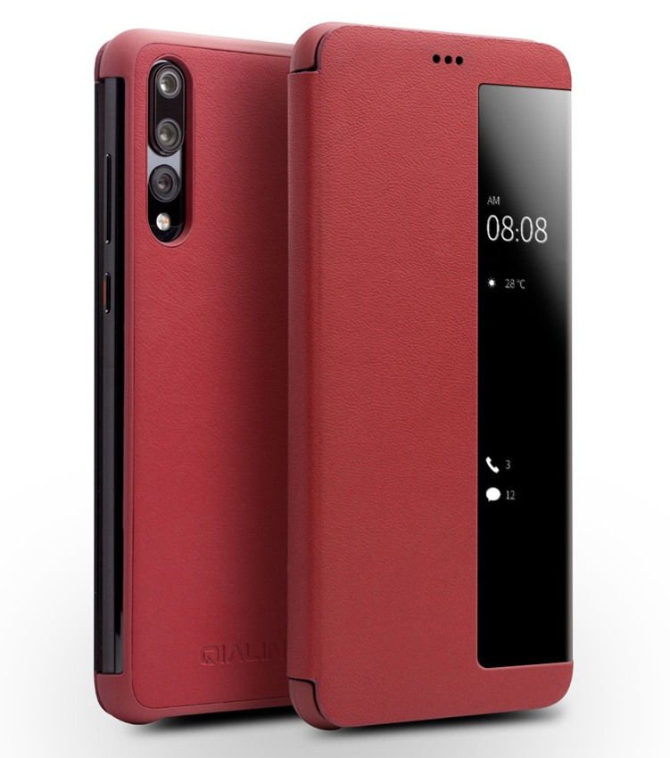 Husa slim din piele naturala, smart cover, Huawei P20 Pro - Qialino Smart Luxury, Rosu