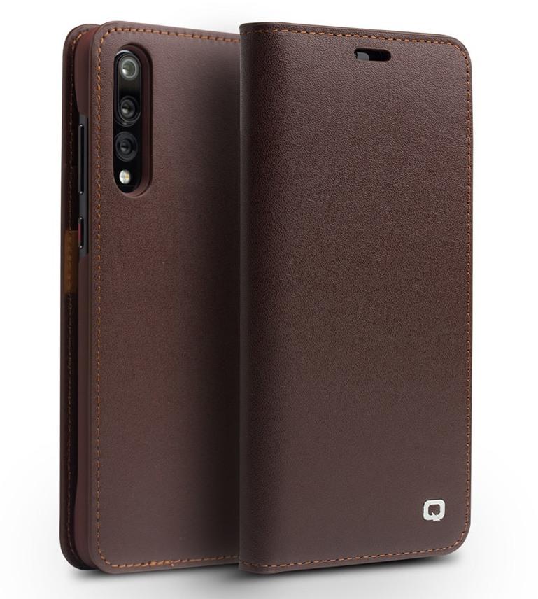 Husa din piele naturala mata tip carte, cu buzunare carduri, Huawei P20 Pro - Qialino Business Classic, Maro coffee
