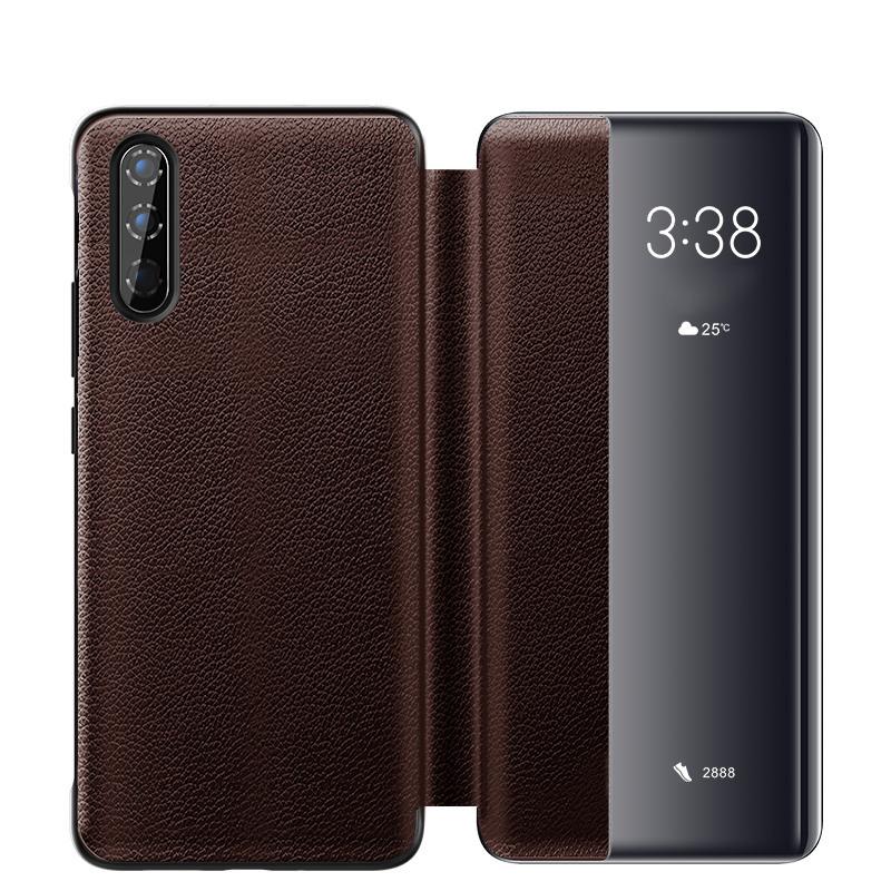 Husa slim piele naturala, smart cover, Huawei P30, Xoomz by iCarer Litchi Smart, Maro coffee
