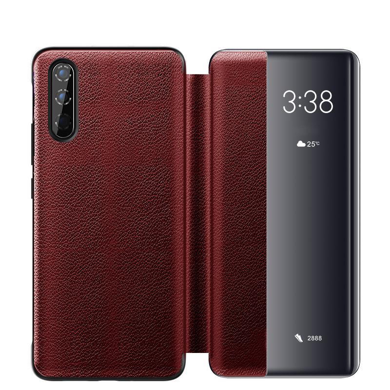 Husa slim piele naturala, smart cover, Huawei P30, Xoomz by iCarer Litchi Smart, Rosu