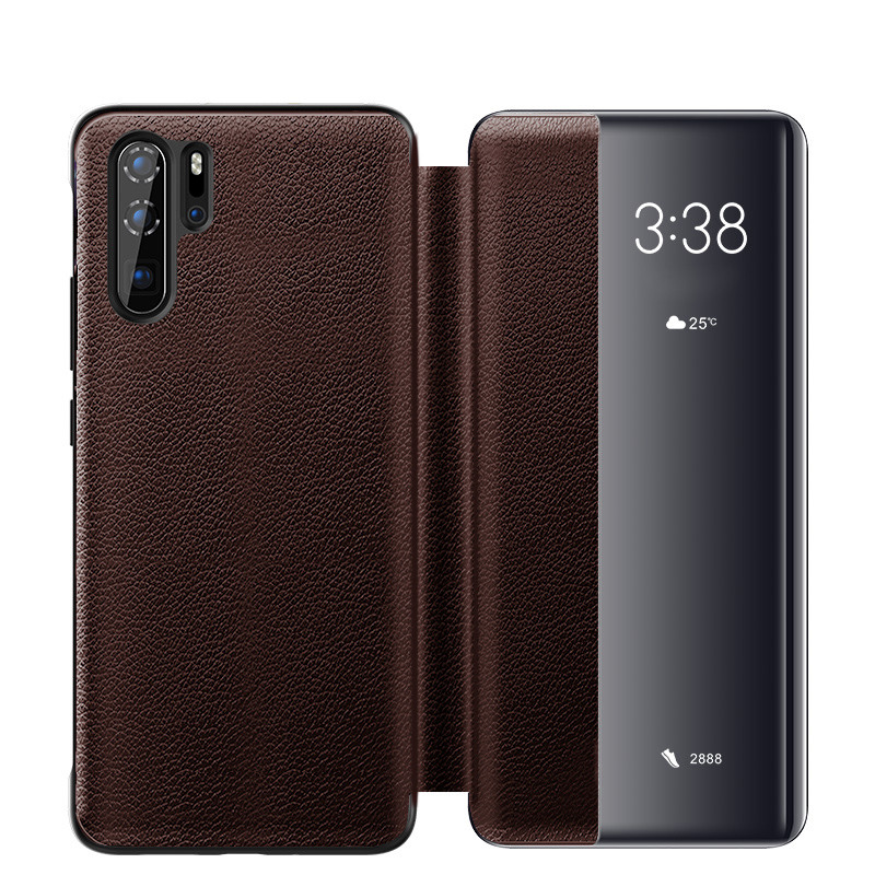 Husa slim piele naturala, smart cover, Huawei P30 Pro, Xoomz by iCarer Litchi Smart, Maro coffee