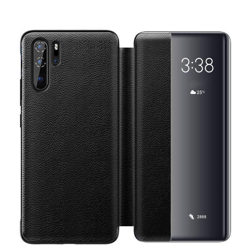 Husa slim piele naturala, smart cover, Huawei P30 Pro, Xoomz by iCarer Litchi Smart, Negru