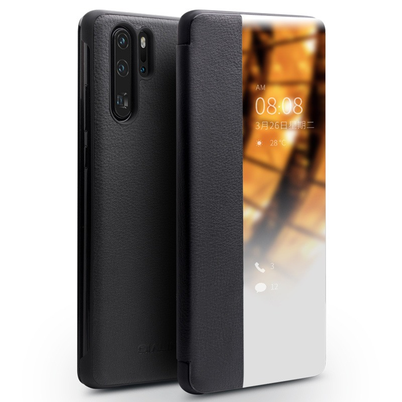 Husa slim din piele naturala, smart cover, Huawei P30 Pro - Qialino Smart Luxury, Negru