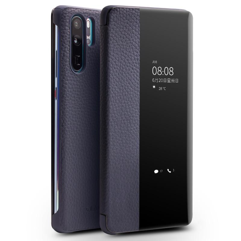 Husa slim din piele naturala, smart cover, Huawei P30 Pro - Qialino Smart Litchi, Albastru