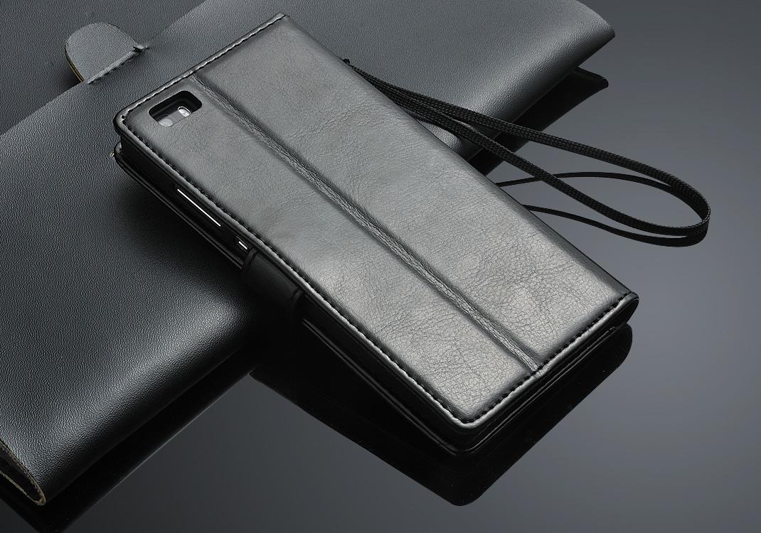 Husa piele fina, tip carte, functie stand, Huawei Ascend P8 Lite - CaseMe, Negru
