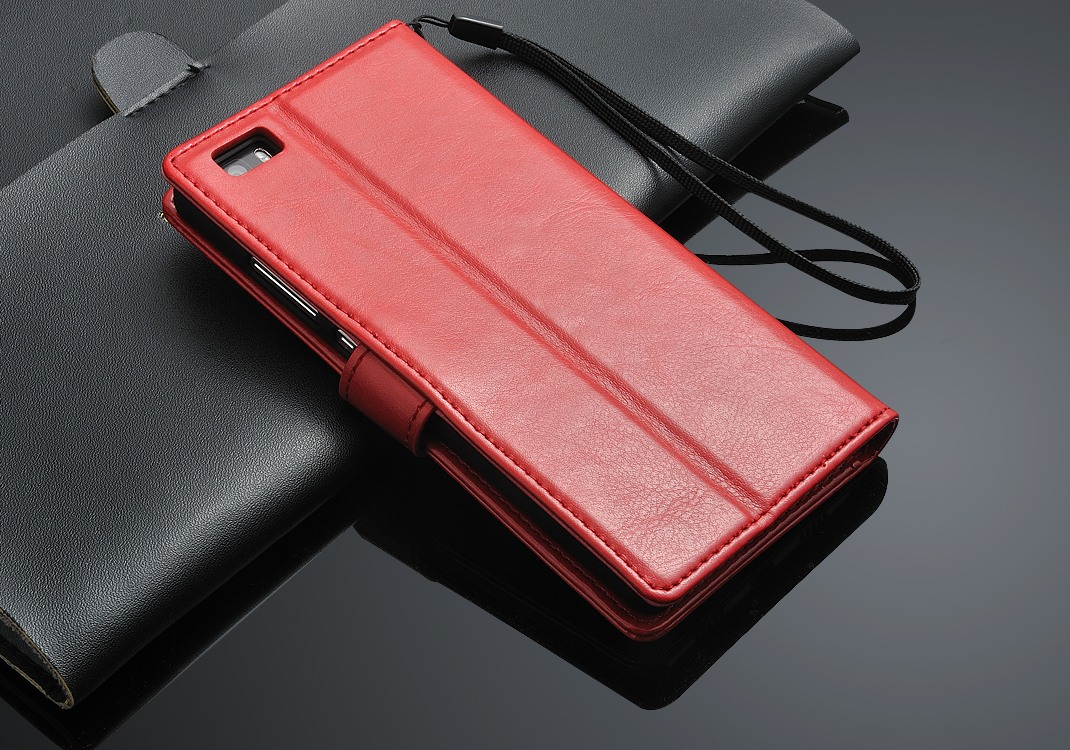 Husa piele fina, tip carte, functie stand, Huawei Ascend P8 Lite - CaseMe, Rosu