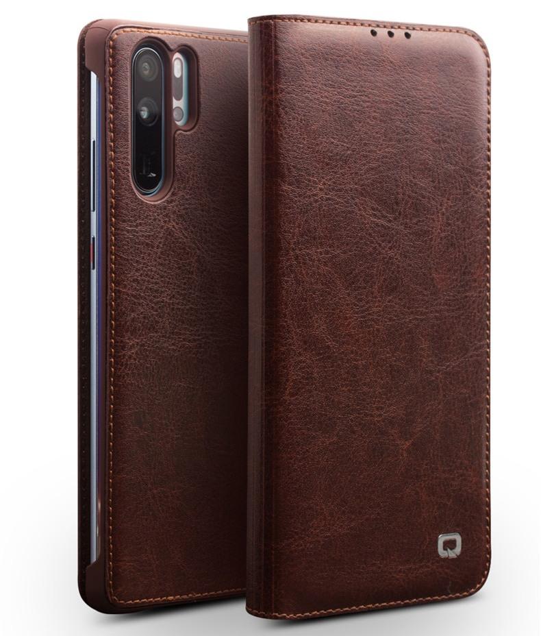 Husa din piele fina naturala, tip carte, cu buzunar card, Huawei P30 Pro - Qialino Classic Wallet, Maro coffee