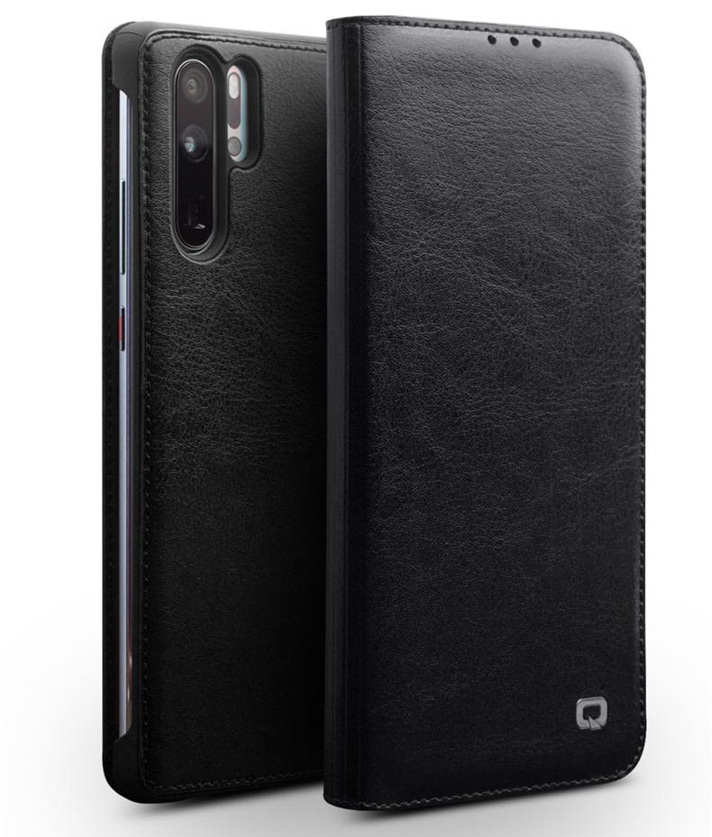 Husa din piele fina naturala, tip carte, cu buzunar card, Huawei Ascend P30 Pro - Qialino Classic Wallet, Negru