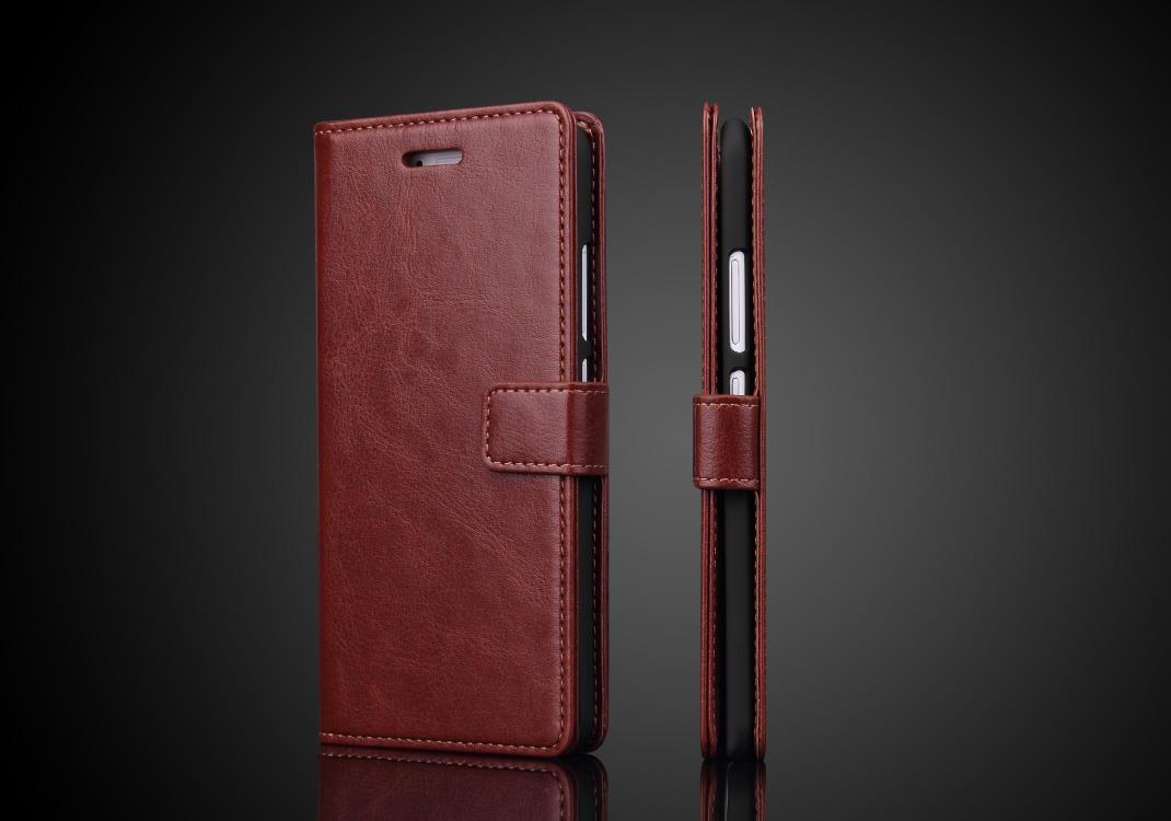 Husa piele fina, tip carte, functie stand, Huawei Ascend P10 Plus - CaseMe, Maro coniac