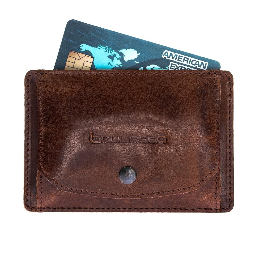 Portofel slim din piele naturala premium, suport carduri, monede - Bouletta, Coffee