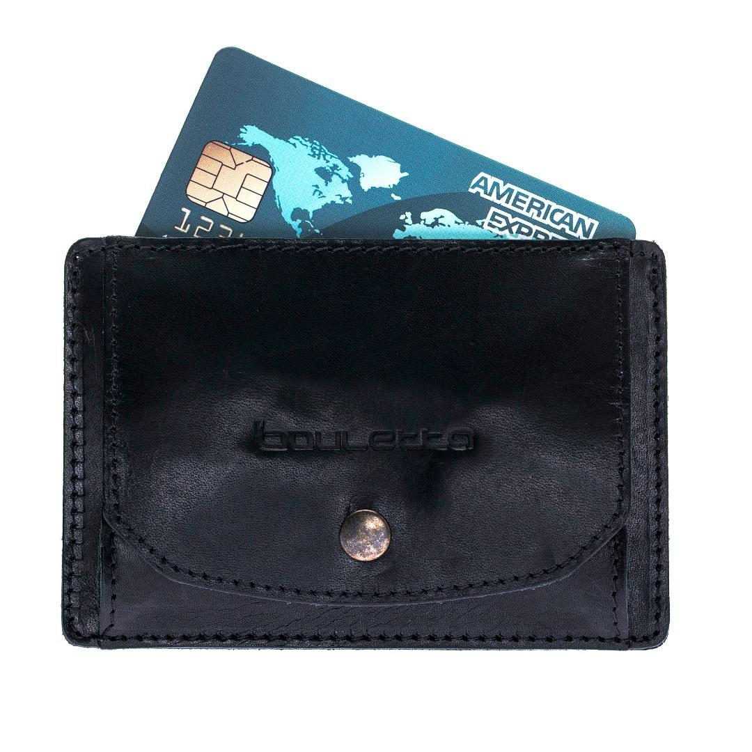 Portofel slim din piele naturala premium, suport carduri, monede - Bouletta, Rustic black