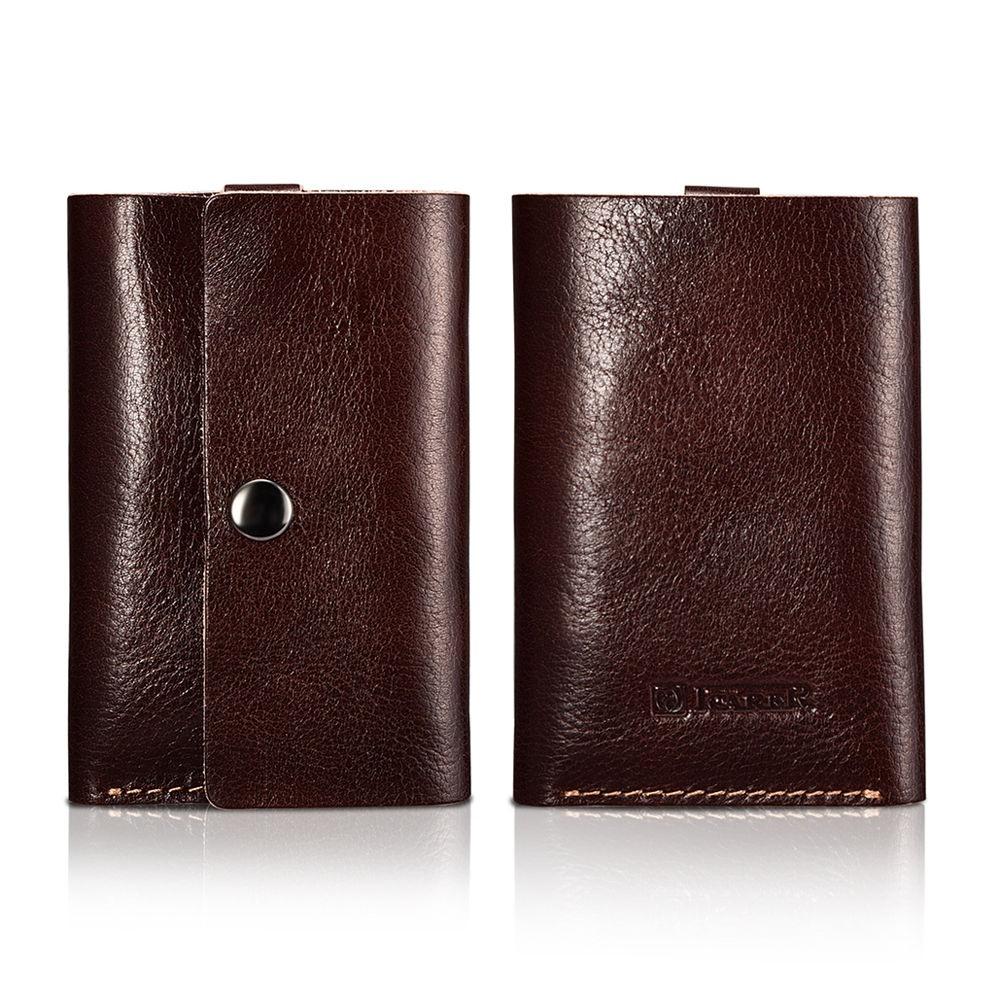 Portofel slim din piele naturala + piele intoarsa, carduri si bancnote, design minimalist - iCarer, Maro coffee