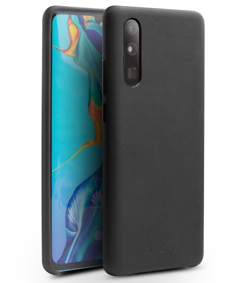 Husa slim din piele de vitel, tip back cover, Huawei P30 - Qialino Classic, Negru