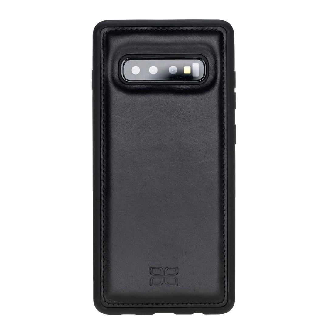 Husa slim piele naturala + rama TPU moale, back cover, Samsung Galaxy S10 Plus - Bouletta, Rustic black