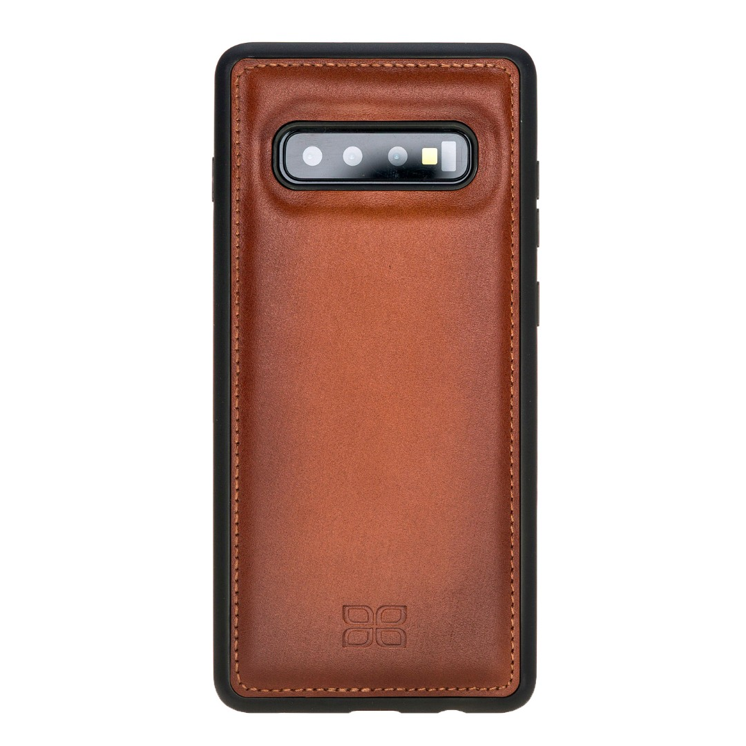 Husa slim piele naturala + rama TPU moale, back cover, Samsung Galaxy S10 - Bouletta, Burnished tan