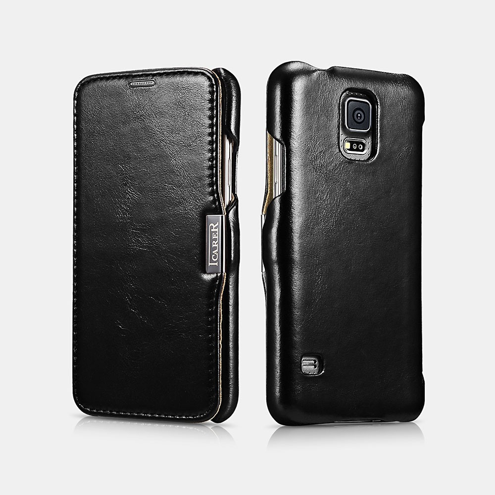 Husa din piele naturala, tip carte, Samsung Galaxy S5 / S5 Neo - iCARER Vintage, Negru