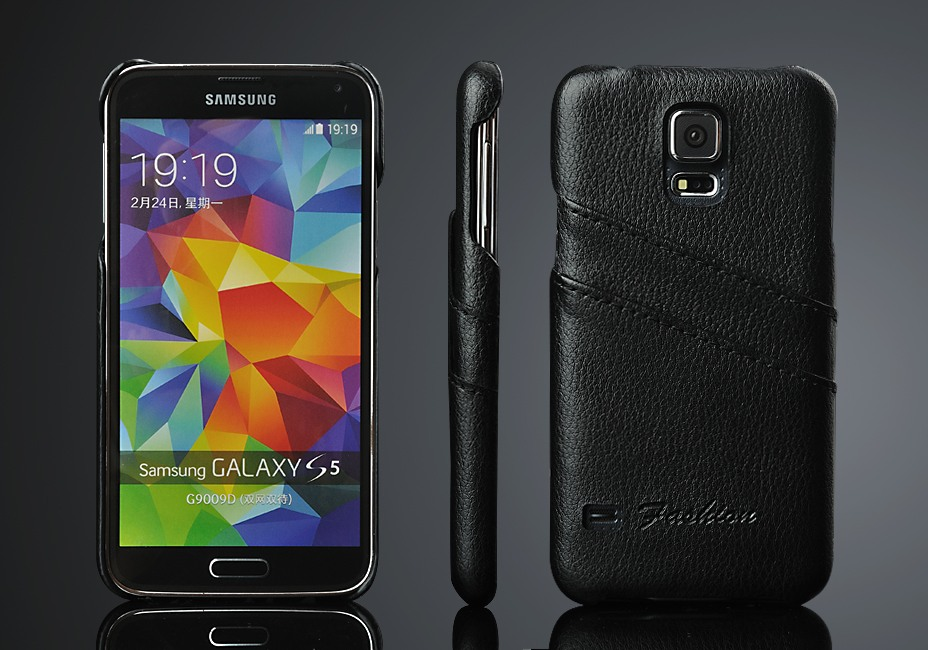 Husa slim din piele, tip back cover, cu buzunarase, Samsung Galaxy S5 / S5 Neo - CaseMe, Negru