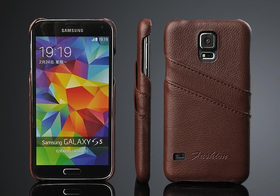 Husa slim din piele, tip back cover, cu buzunarase, Samsung Galaxy S5 / S5 Neo - CaseMe, Maro