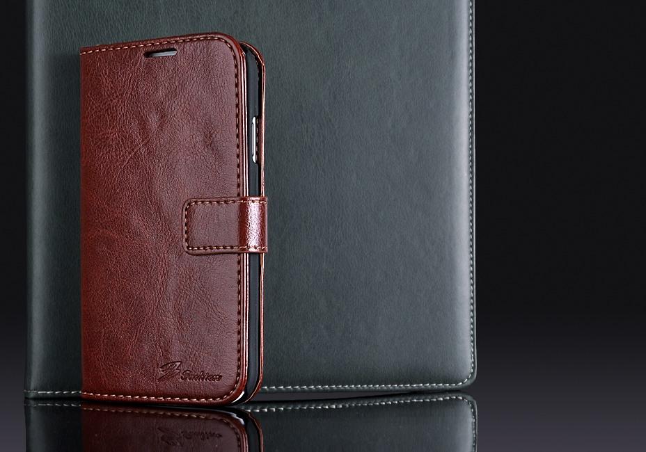 Husa cu protectie superioara din piele fina, tip portofel, Samsung Galaxy S4 - CaseMe, Maro coniac
