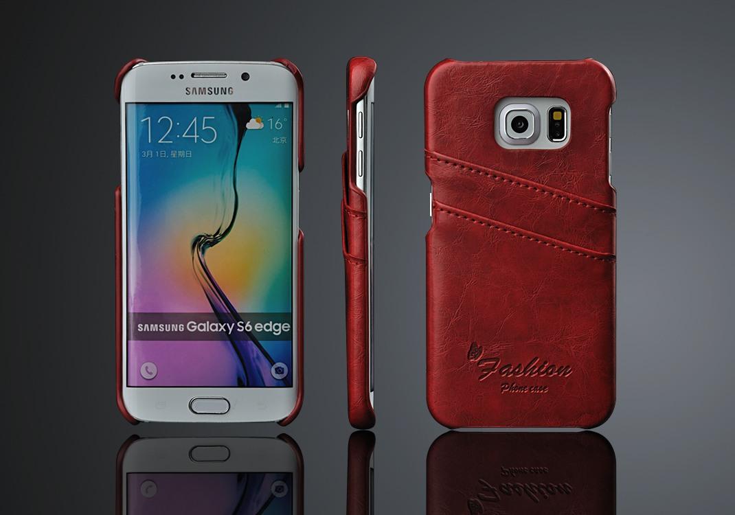 Husa slim din piele fina cu textura vintage, tip back cover, Samsung Galaxy S6 Edge - CaseMe, Rosu
