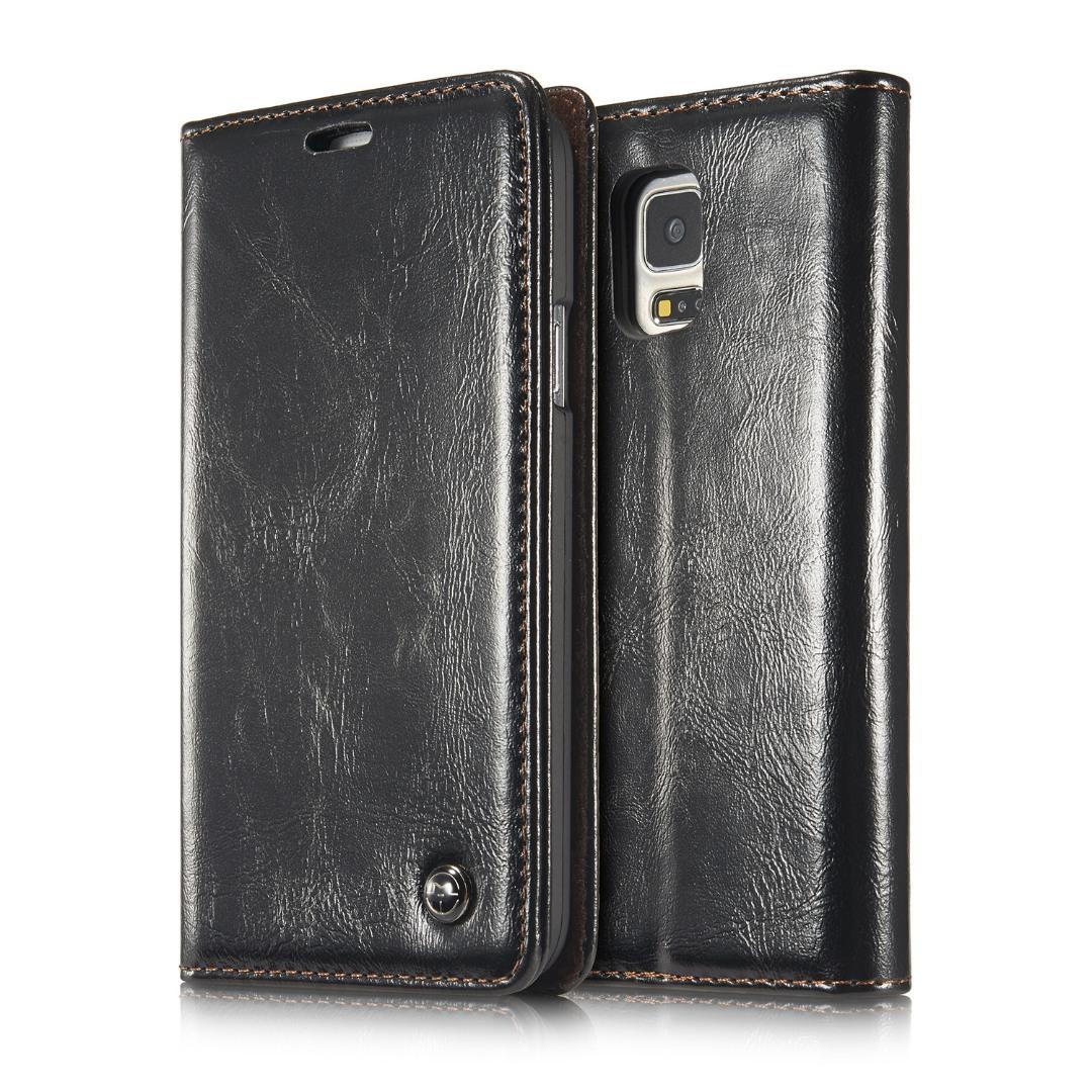 Husa piele fina, tip portofel, stand, inchidere magnetica, Samsung Galaxy S5 / S5 Neo - CaseMe, Negru